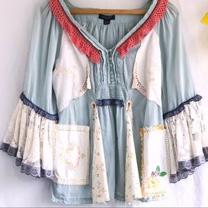 Upcycled boho peasant top w/vintage linens size M
